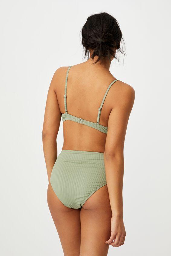 Half Wire Bralette Bikini Top, KHAKI RIB