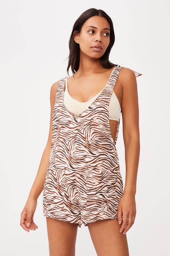 Beach Playsuit, MOTLED ZEBRA