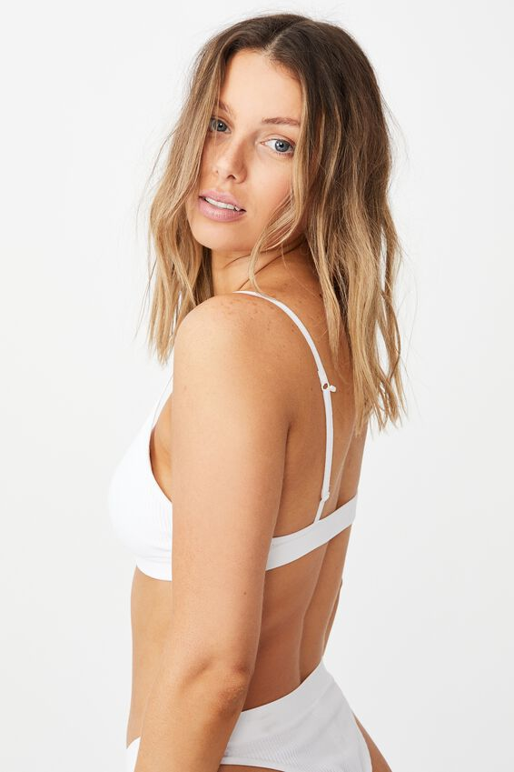 Seamfree Triangle Bralette With Cups, WHITE