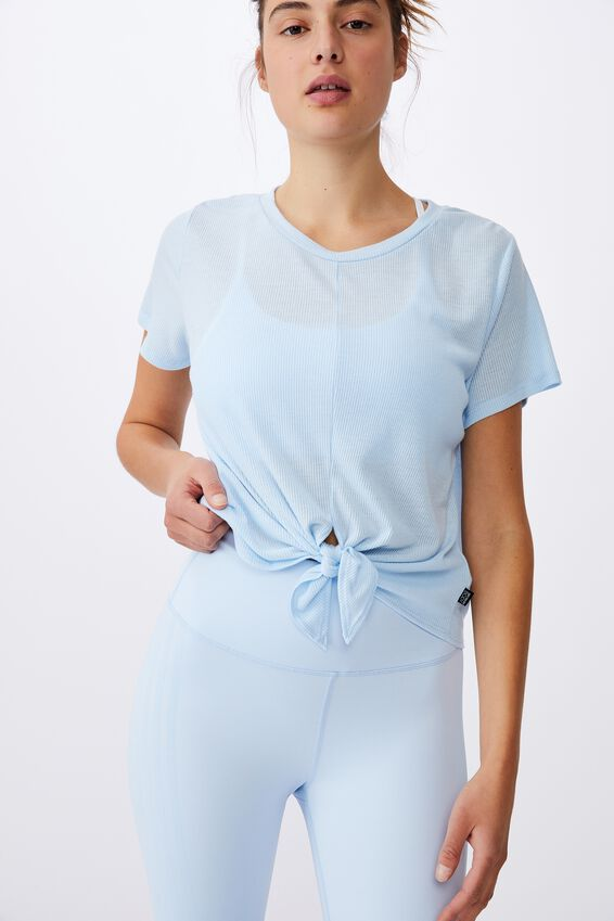 Tie Up Rib Tshirt, BABY BLUE