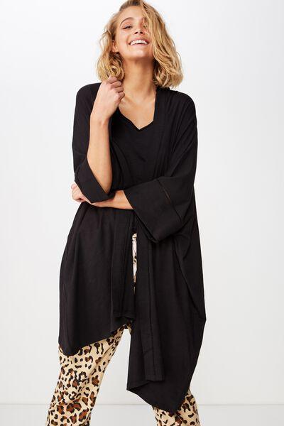 Jersey Kimono, BLACK