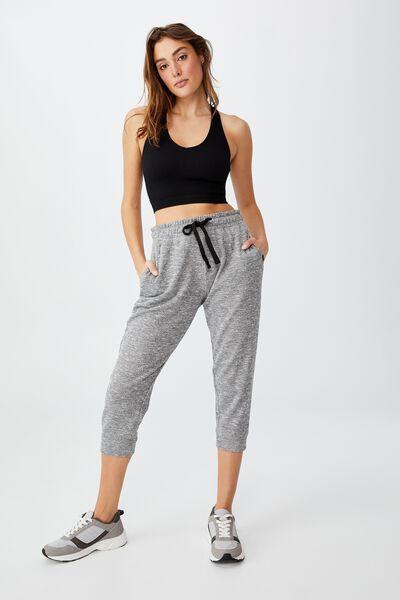 Lifestyle Cropped Gym Track Pants, BLACK VARSITY