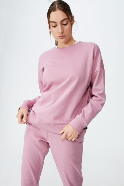Lifestyle Long Sleeve Crew Top, ORCHID SMOKE