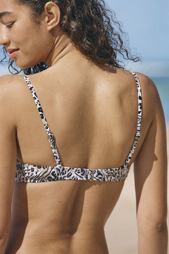 Half Wire Bralette Bikini Top, HYBRID ANIMAL RIB
