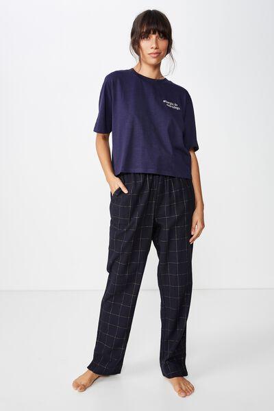 Jersey High Neck T-Shirt, NAVY BABY/MORNINGS