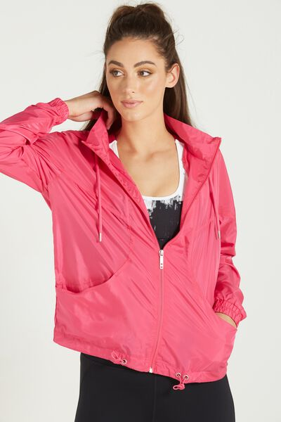 Transparent Lightweight Jacket, HOT PINK