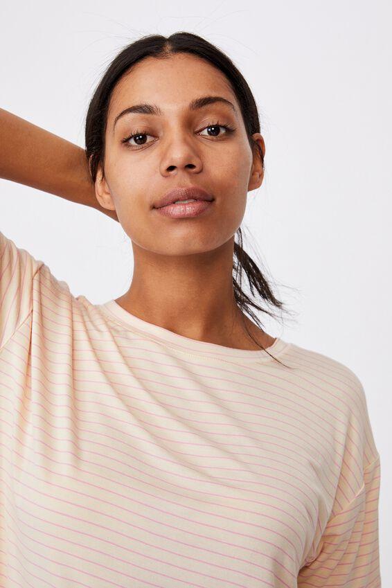 Sleep Recovery Crew T-Shirt, SLENDER STRIPE BUTTERMILK