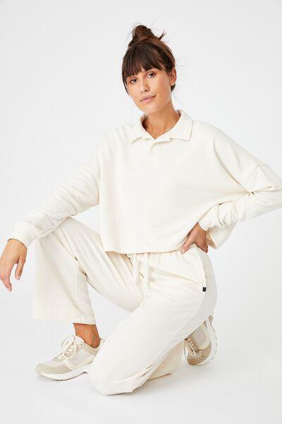 Lifestyle Polo Fleece Top, BUTTERMILK
