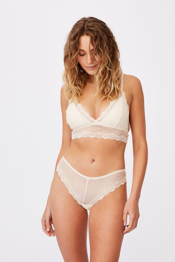 Stevie Lace Bikini Brief, BUTTERMILK