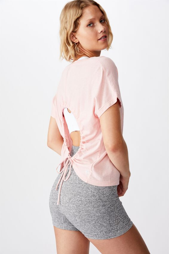 Drop Sleeve Tie Back T Shirt, SOFT CAMEO PINK MARLE