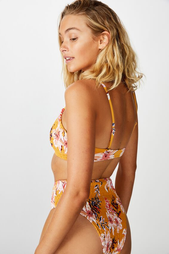 Scoop Crop Bralette Bikini Top, SPICY MUSTARD FLORAL SHIRRED