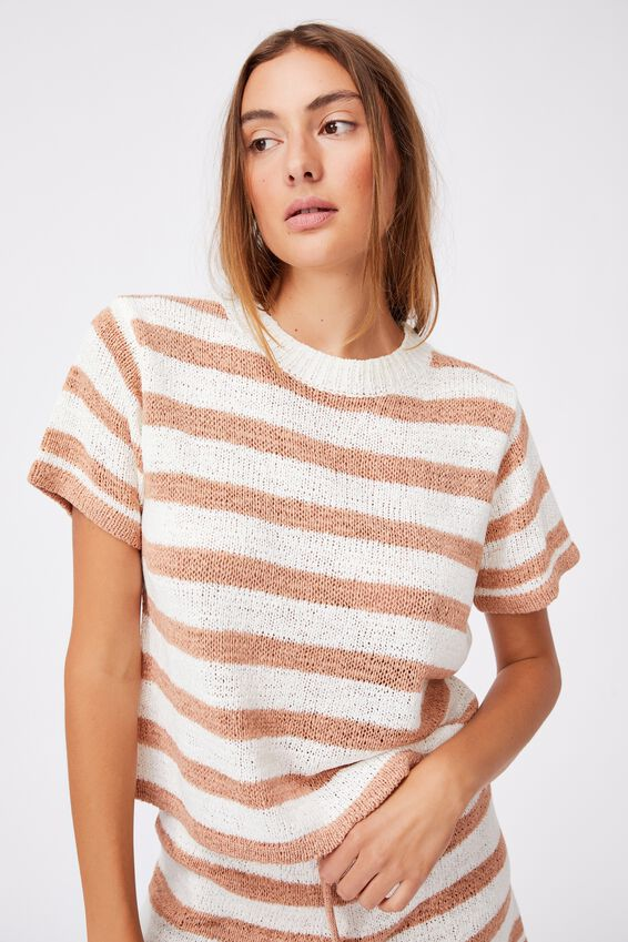 Summer Lounge T-Shirt, CASHEW STRIPE