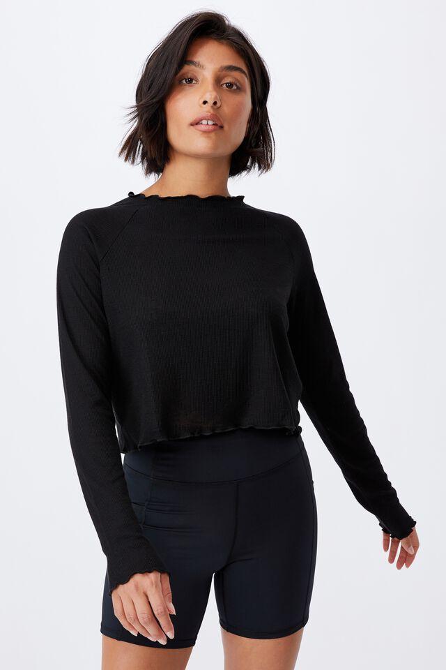 Raglan Long Sleeve Top, BLACK