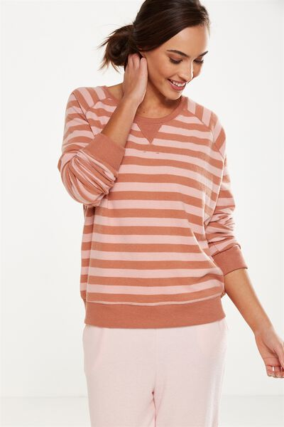 Super Soft Crew Neck Top, MAPLE/PETAL PINK STRIPE