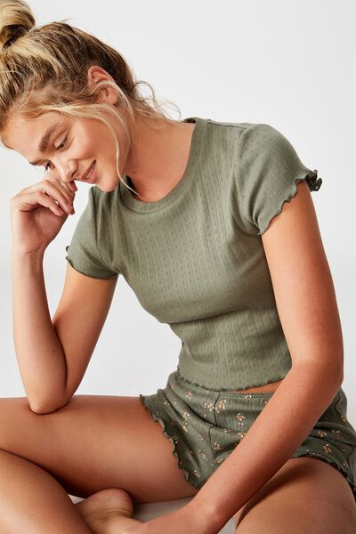 Pointelle Bed T Shirt, KHAKI
