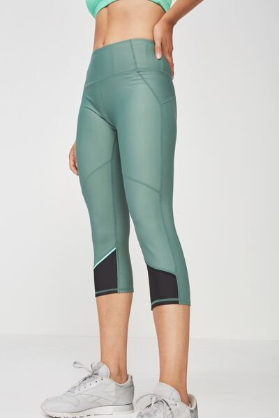 Placement Print Crop Tight, FERN GREEN