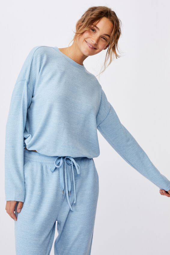 Super Soft Draw Cord Crew, GLACIER BLUE MARLE