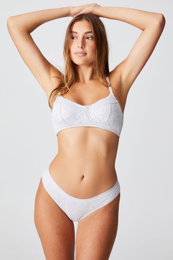 Organic Cotton Bikini Brief, GREY MARLE RIB