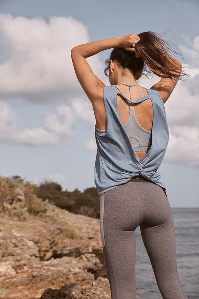 Backless Twist Tank Top, CHALKY BLUE