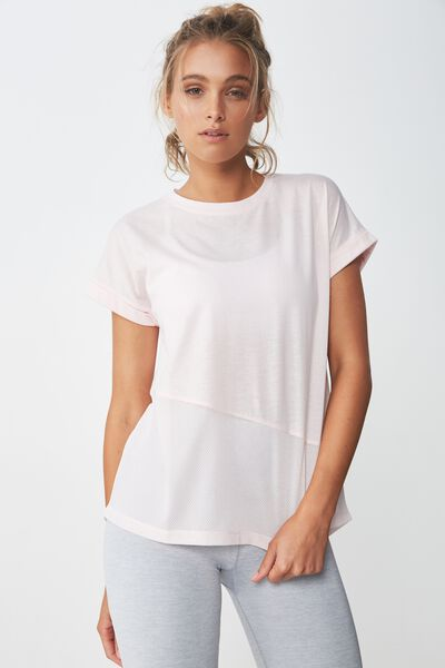 Spliced Mesh T Shirt, PINK SHERBET