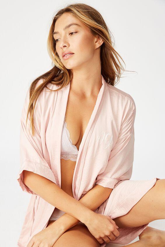 Personalised Textured Kimono, CORAL BLUSH
