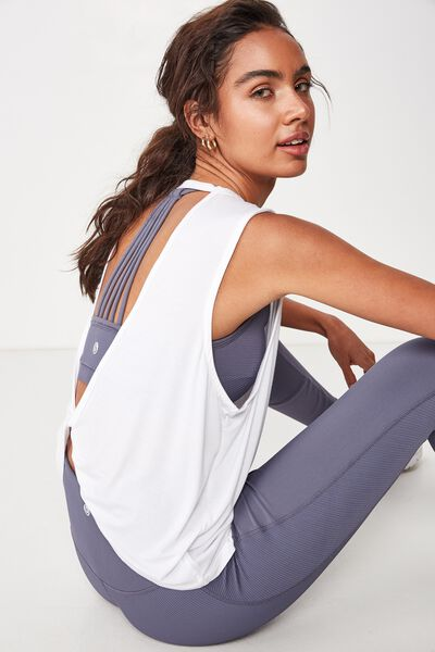 Open Twist Back Tank Top, WHITE