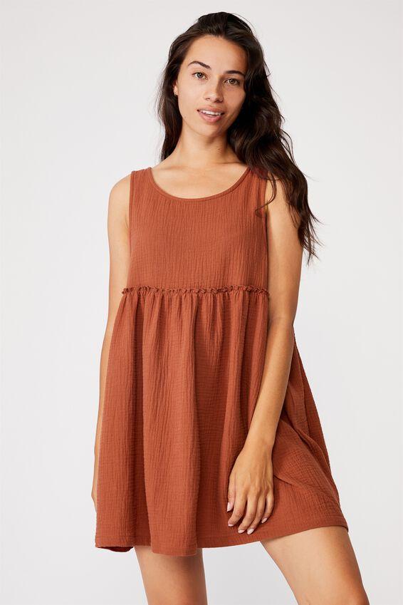 Drop Armhole Beach Dress, CINNABAR