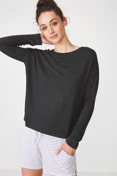 Sleep Recovery Long Sleeve Top, BLACK MARLE