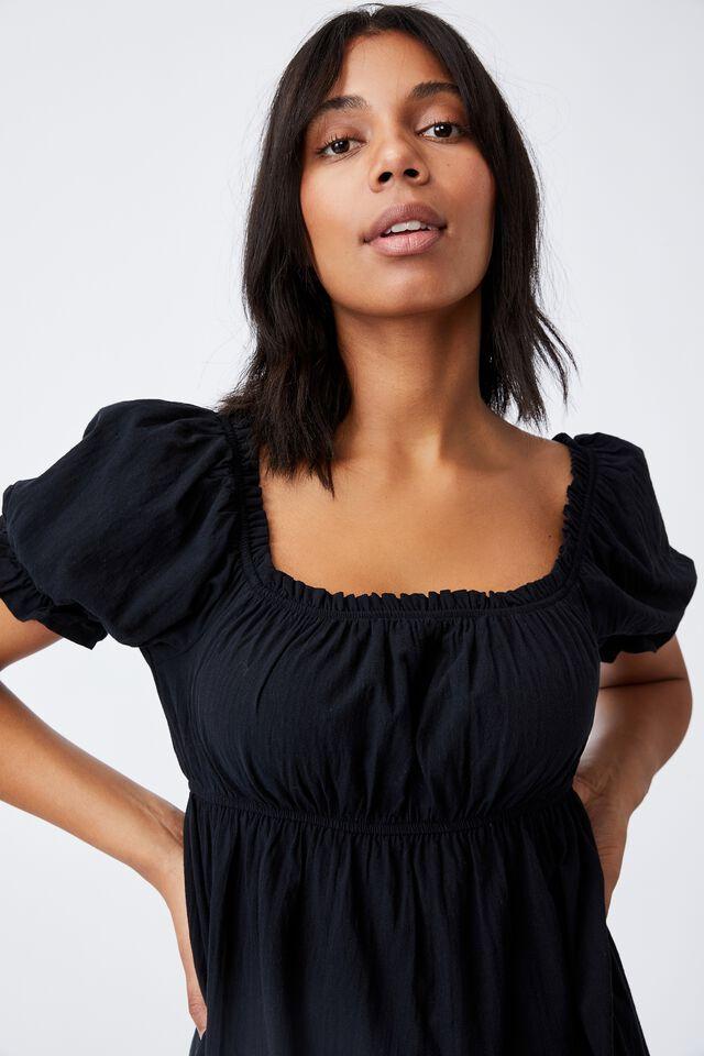 Puff Sleeve Beach Dress, BLACK