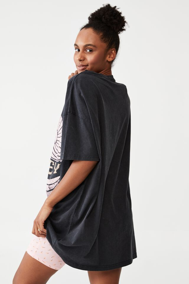 Organic Cotton 90S T-Shirt Nightie, LCN BR BOB MARLEY/SUNSHINE LOGO WASHED BLACK
