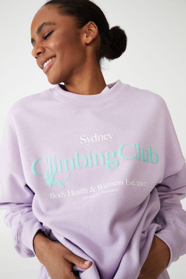 Lifestyle Oversized Graphic Crew, SOFT GRAPE/SYDNEY CLIMBING CLUB