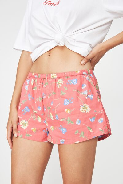 Bedtime Woven Short, CHERRY RED MEADOW FLORAL