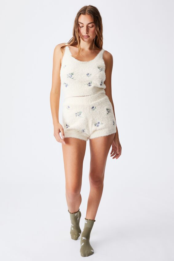 Fluffy Lounge Tank, SPACED OUT DITSY BUTTERMILK