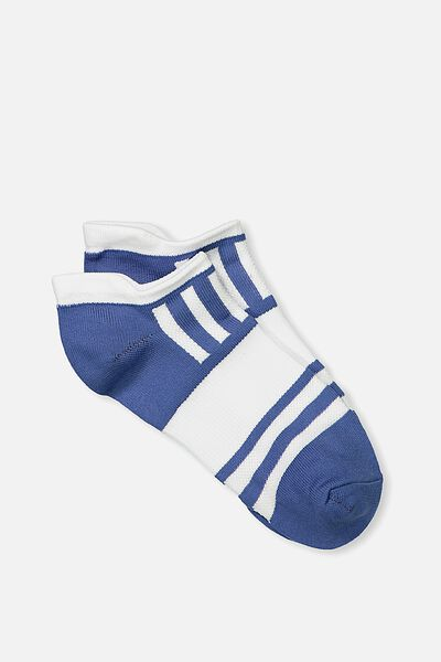 Active Tab Sock, DENIM/WHITE