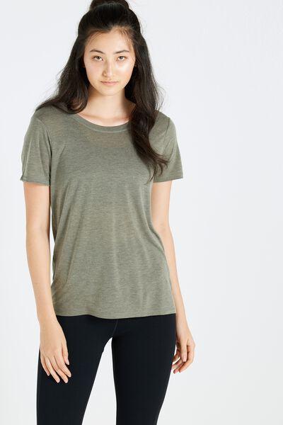 Cross Back T Shirt, EVERGREEN MARLE