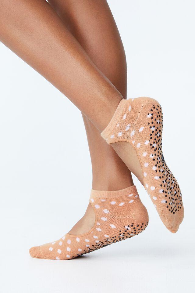 Plie Grip Studio Sock, BUTTERSCOTCH SPOT