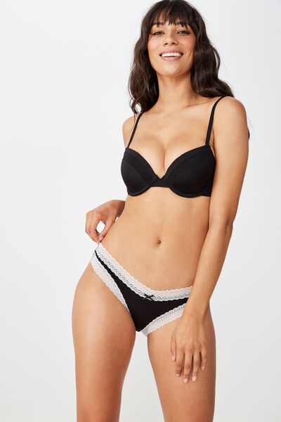 Super Soft Bikini Brief, BLACK/CREAM