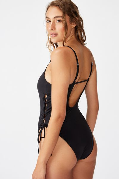 Renewed Lace Up One Piece Cheeky, BLACK