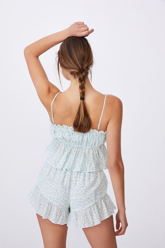 Woven Cami And Short Set, DITSY OVERLAY MINT CHIP