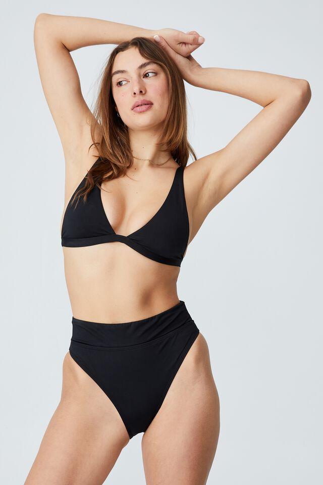 High Apex Fixed Triangle Bikini Top, BLACK