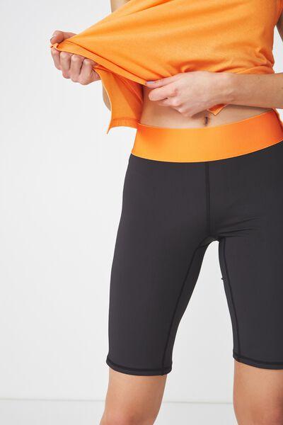Active Mid Gym Short, BLACK/HEATWAVE ORANGE