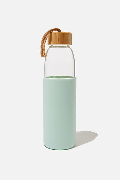 Reusable Glass Drink Bottle 550Ml, GREEN