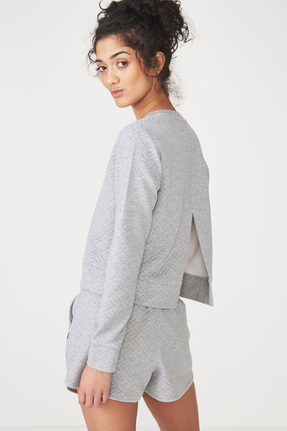 Textured Split Back Crew, MID GREY MARLE