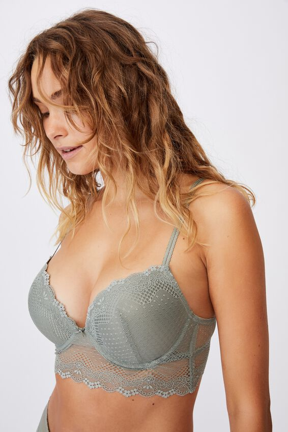 Stevie Lace Longline Push Up2 Bra, GREEN HAZE