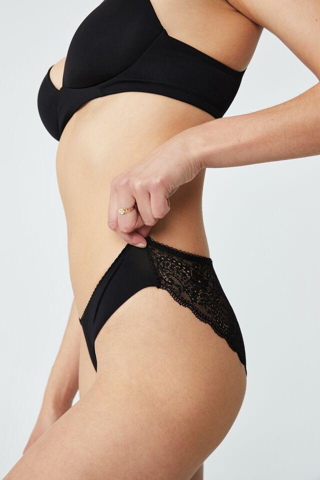 Ultimate Comfort Lace Bikini Brief, BLACK