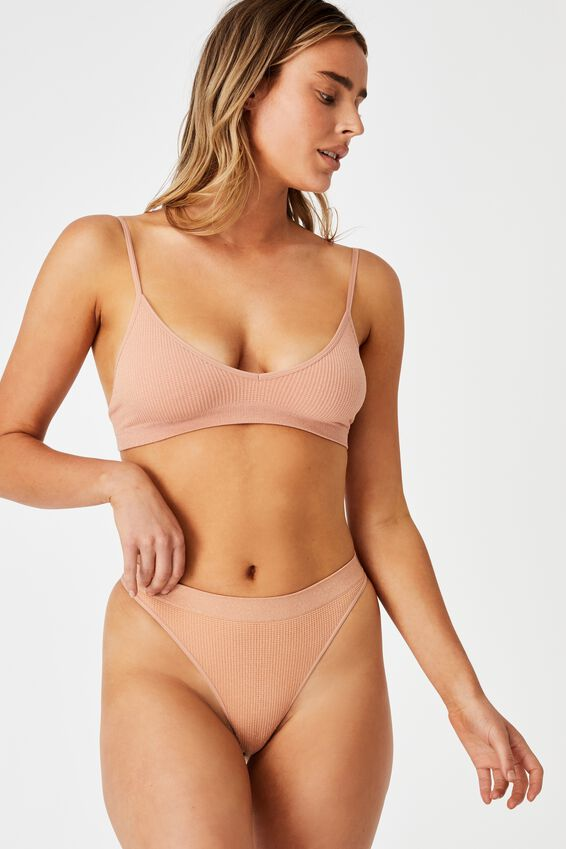 Seamless Triangle Bralette, ROSE CLOUD SHIMMER