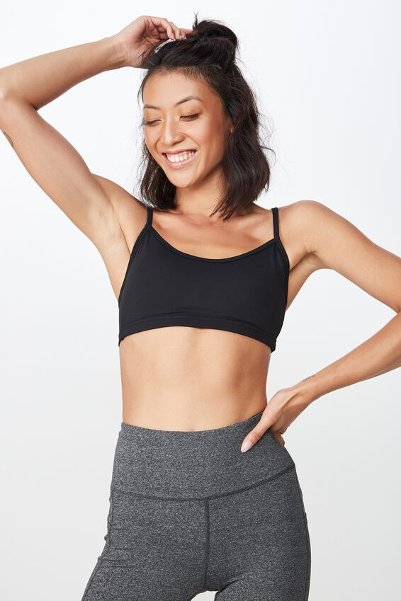 Workout Yoga Crop Bra, BLACK