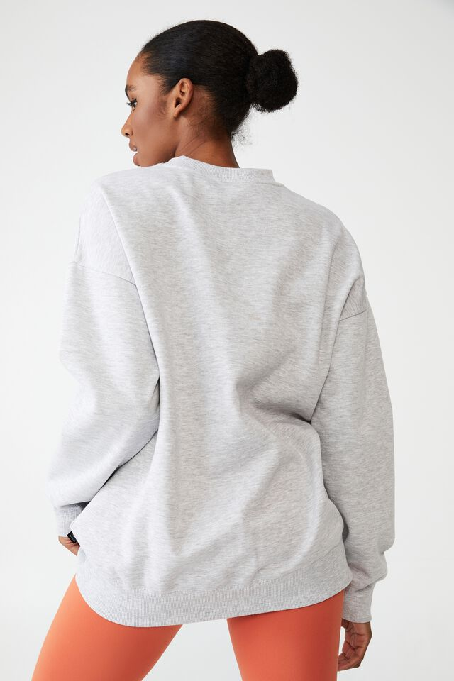 Lifestyle Oversized Graphic Crew, GREY MARLE/ BH&WC