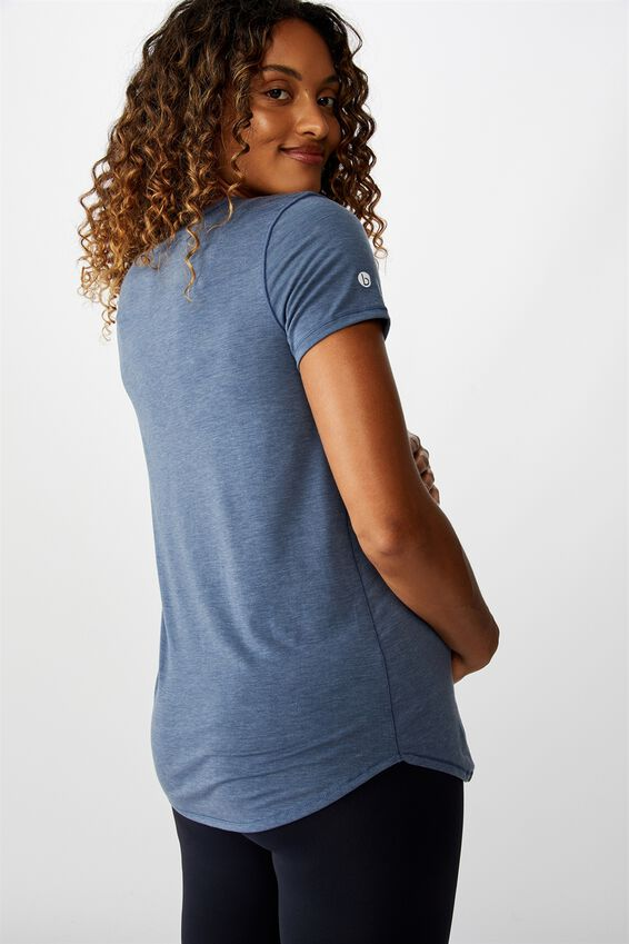 Maternity Gym T Shirt, STEEL BLUE MARLE