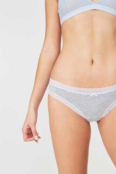 Cotton Rich Brasiliano Brief, LIGHT GREY MARLE/COASTAL BLUE